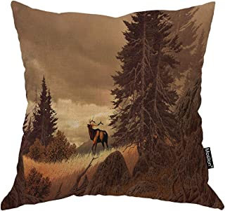 Moslion Deer Pillow Elk in The Rocky Mountains Forest with Rocks Tree Wildlife Brown Throw Pillow Cover Decorative Square Cushion Accent Cotton Linen Home Pillow Case 18X18 Inch