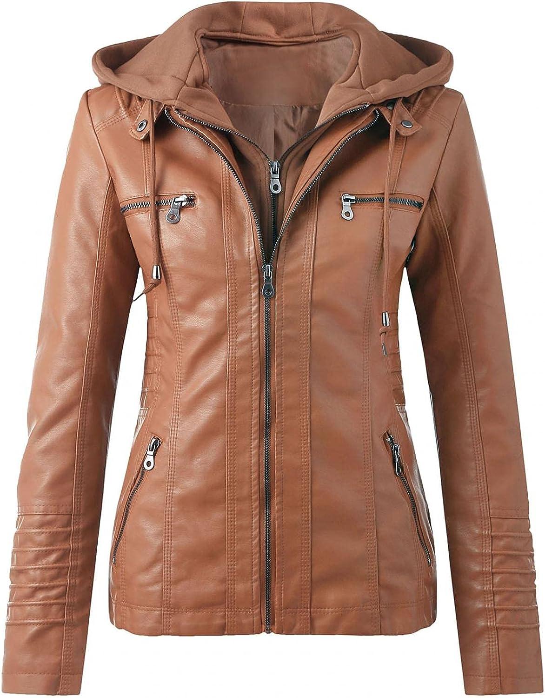 Women's Faux Fur Jackets Trench Coats Slim Windbreaker Leather Stand Collar Zip Outwear Motorcycle Suit Belt Coats Tops