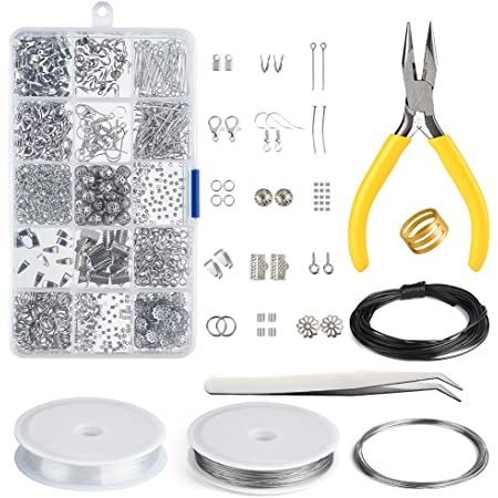 ZHIHU 22 Pieces Jewelry Making Supplies Kit with Bead Design Board Jewelry Wires and Jewelry Findings for Jewelry Repair and Beading Jewelry Making Kit Including Jewelry Tools