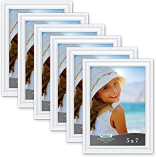 Icona Bay 5x7 Picture Frames (6 Pack, White) Picture Frame Set, Wall Mount or Table Top, Set of 6 Inspirations Collection