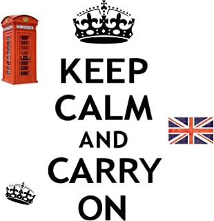 ROOMMATES RMK1782SCS Keep Calm and Carry On Peel and Stick Wall Decals, 12 Count