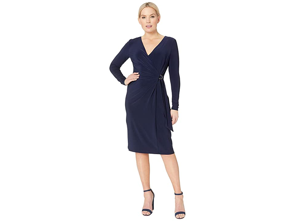 LAUREN Ralph Lauren 1T Matte Jersey Casondra Long Sleeve Day Dress (Navy) Women