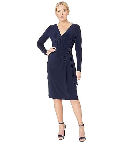 LAUREN Ralph Lauren 1T Matte Jersey Casondra Long Sleeve Day Dress (Navy) Women
