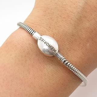 MA Italy 925 Sterling Silver Memories Round Snake Link Bracelet 7 1/4
