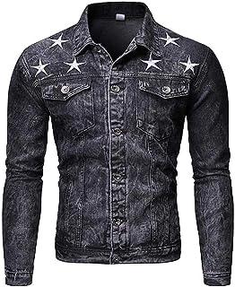 KYC-Bilcesa Men's Casual Pockets Washed Button Up Star-Printed Denim Trucker Jacket Coat