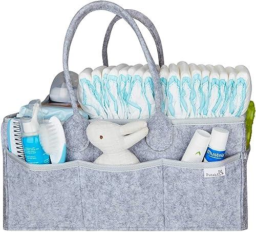Putska Baby Diaper Caddy Organizer - Gift Registry for Baby Shower, Nursery Organizer, Neutral Baby Gift Basket, Chan...