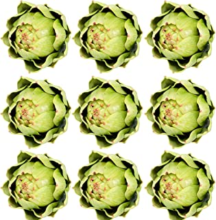 Onlove Large Green Artificial Artichoke Vegetables for Home Decor (9pcs)