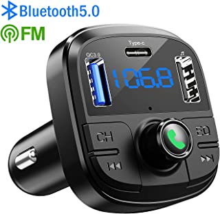 Bluetooth FM Transmitter for Car, Clydek BT 5.0 & QC3.0 Car Bluetooth Adapter Wireless Bluetooth FM Radio Adapter with 5 EQ Mode, 3 Charging PortsSupport USB Disk, TF Card Hands-Free Car Kits