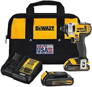 DEWALT 20V MAX Cordless Drill Impact Driver Kit, 1/4-Inch (DCF885C2)
