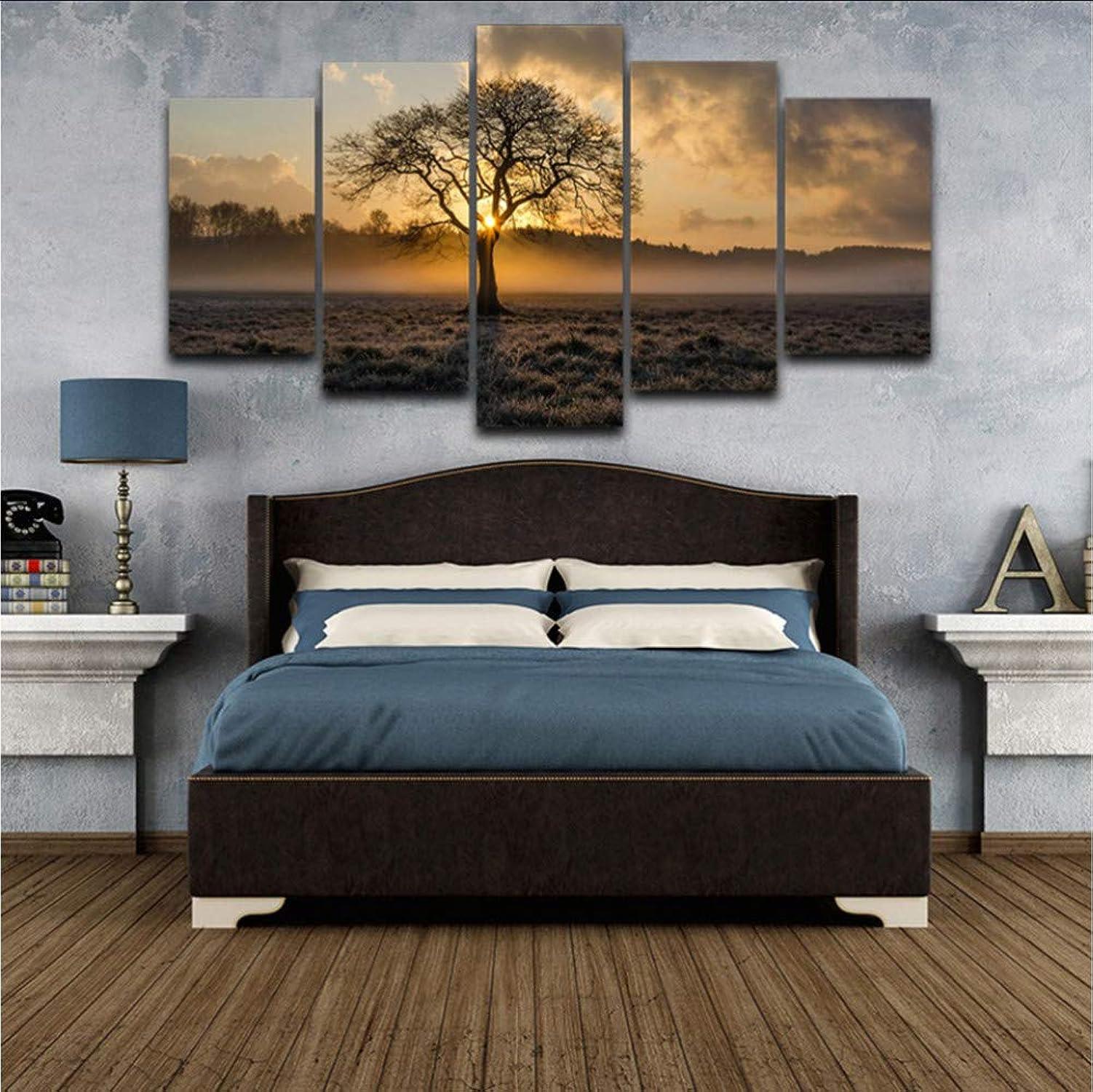 Envio gratis en todas las ordenes Ljtao Pintura Decorativa Marco Modular Arte Arte Arte De La Parojo Imágenes 5 Panel Amanecer árbol Paisaje para Salón Dormitorio Impresiones Lienzo Cuadros-20Cmx35 45 55Cm-Frame  Entrega rápida y envío gratis en todos los pedidos.