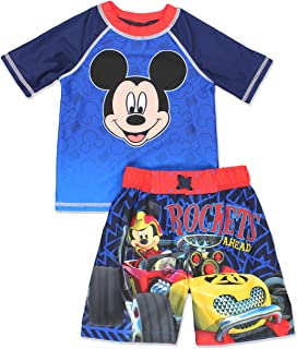 53445c1c50 Mickey Mouse and The Roadster Racers Toddler Boys Swim Trunks and Rash  Guard Set