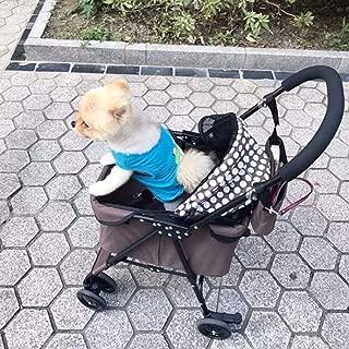 Zzyff Spotted Pet Stroller Foldable Shock Absorber Universal Wheel Cat Cart Net Red Dog Cart Durable