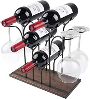 Tabletop Wood Wine Rack, Countertop Wine Holder Storage Stand for 4 Bottle Wine and 4 Glasses, Perfect for Home Decor, Ba...