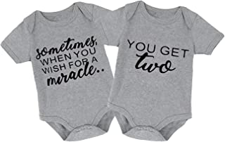 Mini honey 2Pcs Infant Twins Baby Boys Girls Short Sleeve Letter Print Romper Bodysuit Summer Outfit Clothes