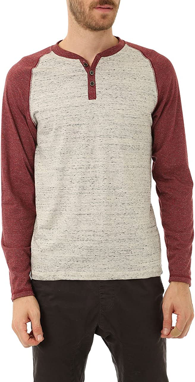 Mens Long Sleeve Henley T Shirt, Casual Raglan Top w/Contrast Colors & French Terry Fabric