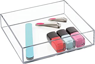 """iDesign Clarity Plastic Drawer Organizer, Storage Container for Vanity, Bathroom, Kitchen Drawers, 8"""" x 8"""" x 2"""", Clear"""