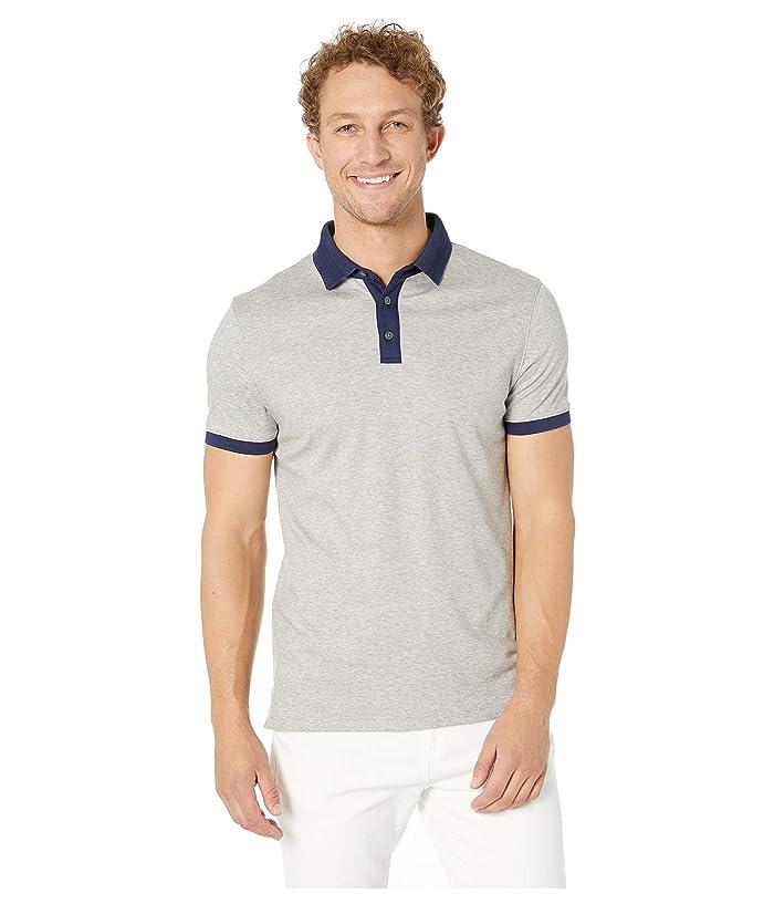 Calvin Klein Short Sleeve Jacquard Collar Polo (Heroic Grey Heather) Men