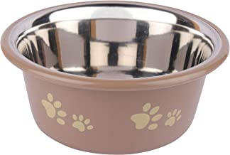 Naaz Pet Supplies Bone and Paw Print Inside Stainless Steel Cutie Dogs and Cats Feeder Plastic Bowls (Grey)