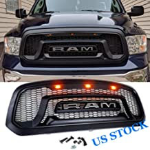 Replacement Matte Black Grille for 2013-2018 Dodge Ram 1500 Rebel Style Front Grille Honeycomb Bumper, 3 Amber LED lights, R&A&M Letters