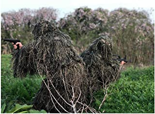 WJ Hunting Suit,Geely Clothing,Ghillie Suit Camouflage Cloak Camo Birdwatching Poncho Leaf Leaves Sniper Set Yowie Clothes,for Cs Woodland Games Army Adult 3D Outdoor Encryption Reinforcement
