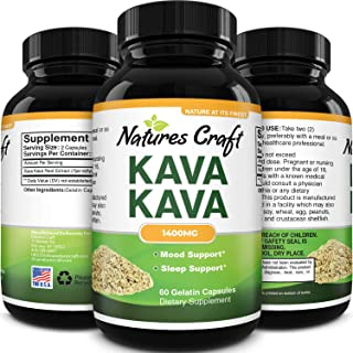 Kava Kava Nootropic Brain Supplement - Brain Booster Kava Kava Capsules for Natural Sleep Aid Mood Brain Fog and Stress Re...