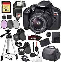 Canon EOS Rebel T6 Digital SLR Camera with EF-S 18-55mm f/3.5-5.6 DC III Lens Kit (Black) Professional Accessory Bundle Package Deal Includes: 32gb SD Card + DSLR Bag + 57