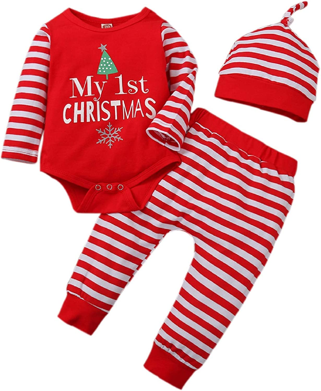 My First Christmas Outfits Newborn Baby Letters Christmas Tree Romper Red Stripe Pants Hat Christmas Clothes