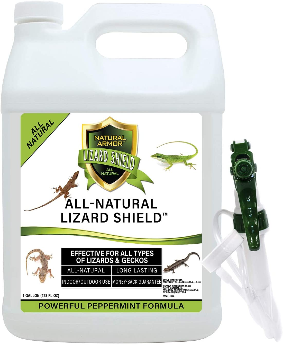 Natural Armor Lizard & Gecko Repellent Spray - Powerful Peppermint Formulation Repels All Types of Lizards & Geckos and Works Better Than Ultrasonic Gimmicks – 128 fl oz - Gallon Ready to Use