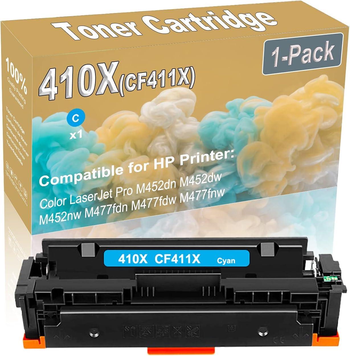 1-Pack (Cyan) Compatible High Yield 410X (CF411X) Printer Toner Cartridge use for HP M452dn M452dw M452nw M477fdn M477fdw Printers