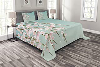 Ambesonne Weeping Flower Bedspread, Freshly Blooming Cherry Blossom Branches with Flower Buds, Decorative Quilted 3 Piece Coverlet Set with 2 Pillow Shams, King Size, Mint Pink