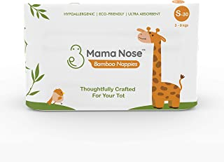 MamaNose Eco Friendly Baby Nappies For 3-8 kg Infant, Pack of 180 Biodegradable Nappies, Made from Bamboo Fiber, Free from...