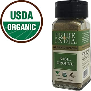 Pride Of India - Organic Basil Leaf Ground - 1.6 oz (45 gm) Dual Sifter Jar - Certified Pure Very Fragrant Basil Powder (O...