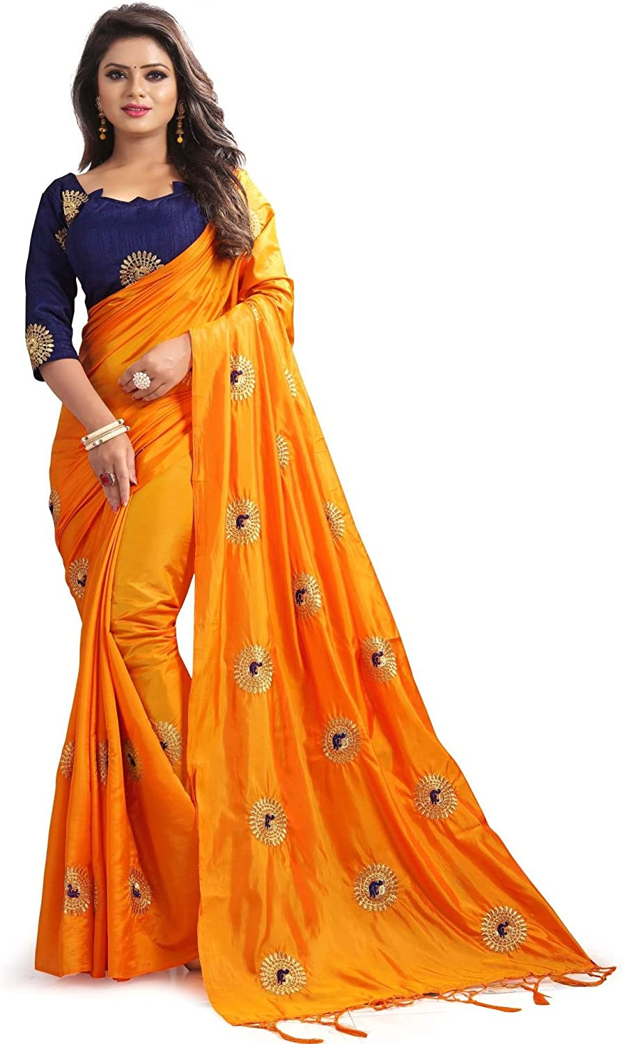 Hiral Designer Indian Women Multi color Cotton Paper Silk & Heavy embroidery Work Party Wear Saree With Blouse piece Indian.