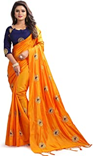 Kuvarba Fashion Women's Silk Embroidered Saree With Blouse Piece