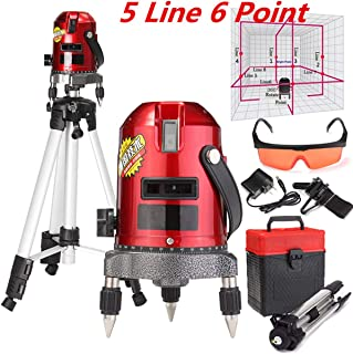 360°Automatic Self-leveling laser 5 Lines 6 Points Professional Waterproof Laser Level,Horizontal and Vertical Laser Cross Line with Free Carrying Case,Tilt & Rotating Outdoor Mode + Tripod