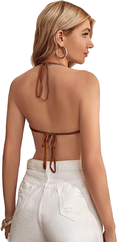 SweatyRocks Women's Sleeveless Backless Hanky Hem Ruched Halter Crop Cami Top