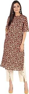 Ayan Fashions Cotton Printed Kurta Pant Set for Women. (Brown)