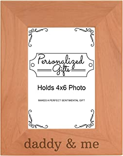 Personalized Gifts Daddy's & Me Son Daughter Natural Wood Engraved 4x6 Portrait Picture Frame Wood