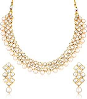 Sukkhi Modish Pearl Gold Plated Wedding Jewellery Kundan Choker Necklace Set for Women (N73531_D1)