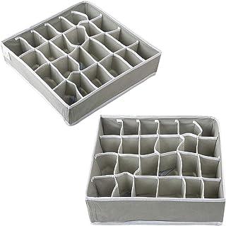 Voarge Lot de 2 tiroirs de rangement pour lingerie, 24 cellules, compartiments de séparation, tiroirs pliables, pour linge...