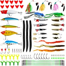 Apusale Fishing Lures Kit Bass Baits Tackle-Including Crankbaits, Spinnerbaits, Plastic Worms, Jigs, Topwater Lures, Tackl...