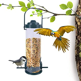 Tube Bird Feeders Hanging Wild Bird Feeder for Outdoors Transparent Premium Plastic with Hanger and 2 Feeding Ports