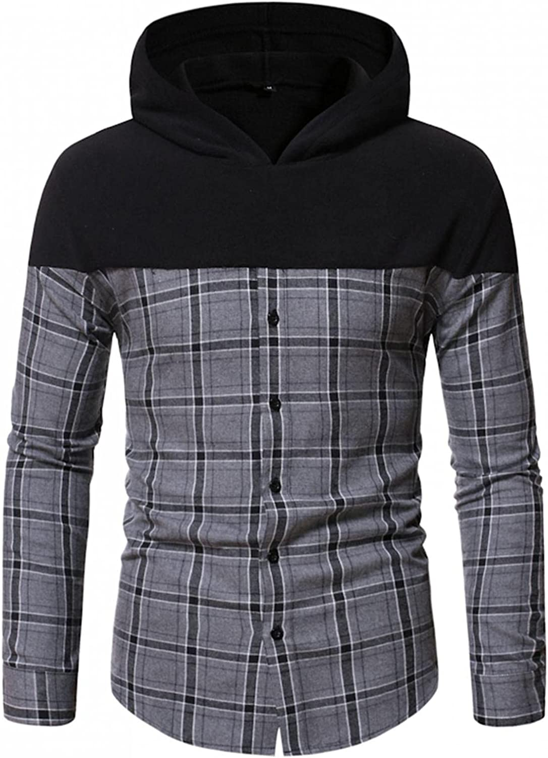 Aayomet Men's Hoodies Sweatshirts Patchwork Checked Button Casual Long Sleeve Hooded Pullover Tops Blouses Sweaters