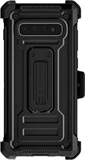 Ghostek Iron Armor Galaxy S10 Plus Case with Holster Belt Clip & Kickstand S10+ Phone Cover Heavy Duty Military Grade Drop Tested Wireless Charging Compatible Case for Samsung Galaxy S10+ 2019 – Black