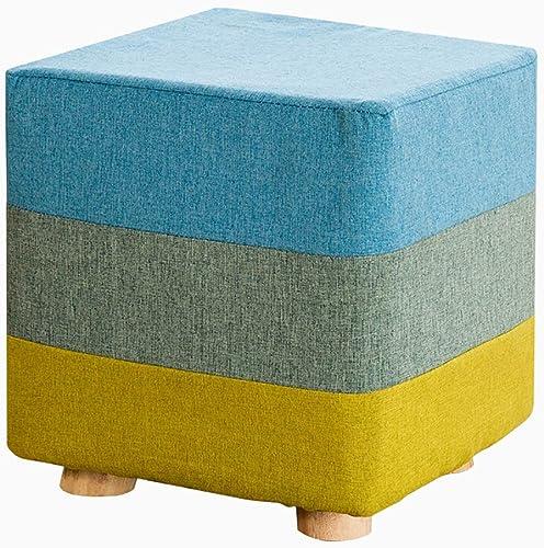 füric wooden stool Quadratische h erne Schemel Osmaßen und Puffs  ern Schuhe Hocker hohen Stuhl Stoff Sofa Bank Massivholz Hocker im Wohnzimmer Schlafzimmer DREI-Farben-Splei  25CMX25CMX28CM