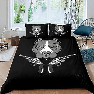 Homeiwsh Cartoon Dog Comforter Cover Set Pitbull Head with Guns Duvet Cover Animal Theme Bedding Set 2pcs for Kids Boys Te...