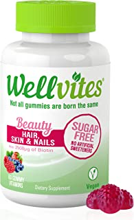 Wellvites Beauty Sugar Free Adult Gummies for Hair, Skin and Nails with Biotin, Vitamin B12, and Folate | Vegan, Non-GMO a...