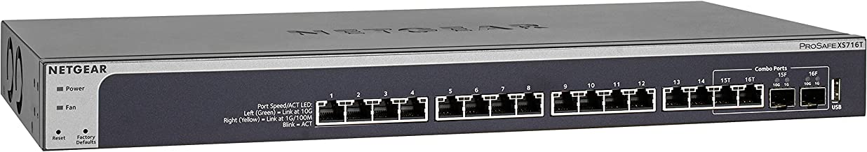 NETGEAR 16-Port 10G Ethernet Smart Managed Pro Switch (XS716T) - with 2 x 10Gigabit SFP+, Desktop/Rackmount, and ProSAFE Limited Lifetime Protection