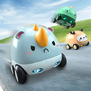 Sponsored Ad - CUTE STONE Friction Powered Cars, Baby Toy Cars with Lights and Music, One Click Switch Music, Cartoon Anim...