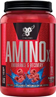 BSN Amino X Muscle Recovery & Endurance Powder with BCAAs, 10 Grams of Amino Acids, Keto Friendly, Caffeine Free, Flavor: Blue Raspberry, 70 Servings (Packaging May Vary)